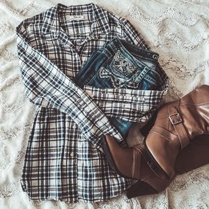 🍁Madewell Ex-boyfriend Plaid Button Shirt